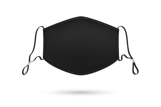 Cordão de máscara médica ajustável preto realista