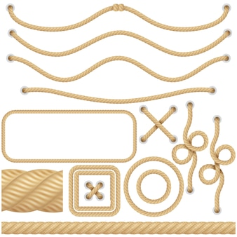 Cordas de fibra marinha ou náutica realistas. fronteiras, quadros de vela elementos de decoração. nó objeto torcido isolado.