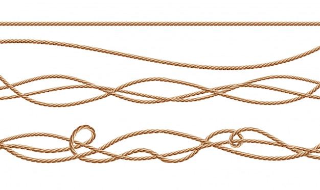 Cordas de fibra realista 3d - em linha reta e amarrado. juta ou cânhamo torcido cabos com loops
