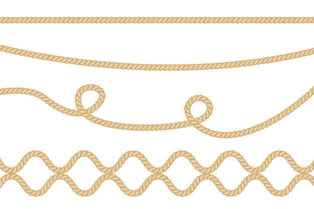 Cordas de fibra realistas isoladas em transparente