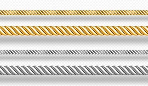 Cordas de ouro e prata fios trançados isolados na parede branca conjunto realista de cordas de cetim de ouro e metal decoração bordas de cordas de seda retas