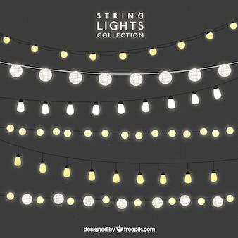 Cordas decorativas com lâmpadas brilhantes