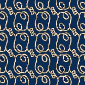 Cordas marinhas vector sem costura padrão