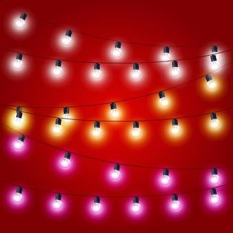 Cordas pendentes de luzes de natal - decorações de carnaval