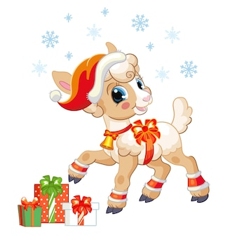 Cordeiro bonito com um chapéu de natal com presentes e flocos de neve. ilustração vetorial.
