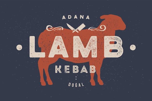 Cordeiro, ilustração de kebab