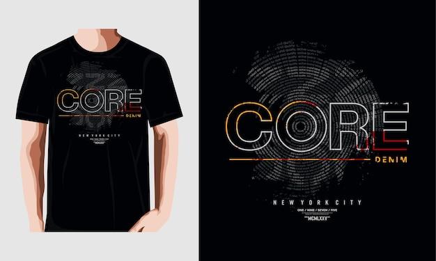 Core denim design vector tipografia t-shirt premium vector