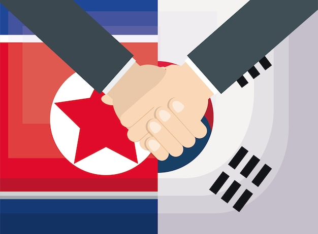 Coreia do norte e bandeiras da coreia do sul e aperto de mão