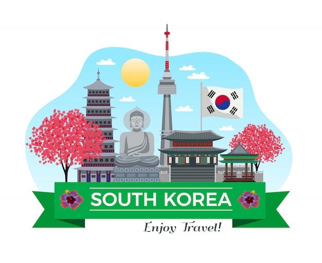 Coreia do sul turismo composição de fundo com edifícios tradicionais e pontos turísticos com fita e ilustração de linha de texto editável