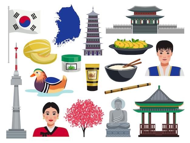 Coreia do sul turismo viagens conjunto com ícones isolados de símbolos nacionais valores culturais alimentos e pessoas ilustração
