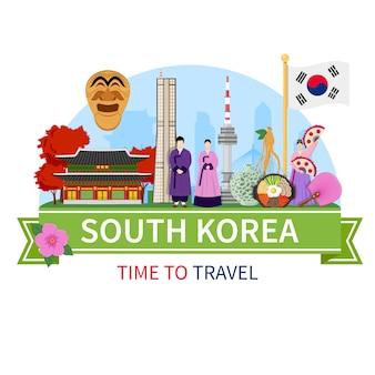 Coréia viagens composição plana