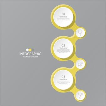 Cores amarelas e cinza para infográfico com ícones de linha fina. 3 opções ou etapas para infográficos