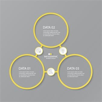 Cores amarelas e cinza para infográfico com ícones de linha fina. 3 opções ou etapas