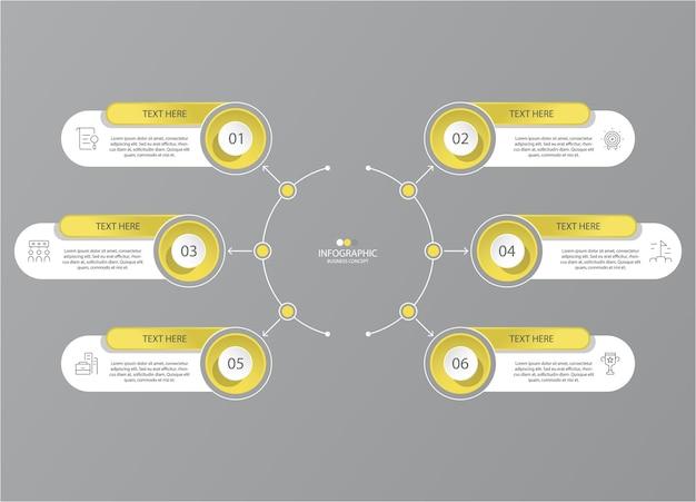 Cores amarelas e cinza para infográfico com ícones de linha fina. 6 opções ou etapas para infográficos, fluxogramas
