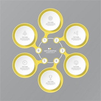 Cores amarelas e cinza para infográfico com ícones de linha fina. 6 opções ou etapas para infográficos