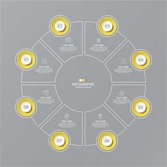 Cores amarelas e cinza para infográfico com ícones de linha fina. 8 opções ou etapas para infográficos, fluxogramas