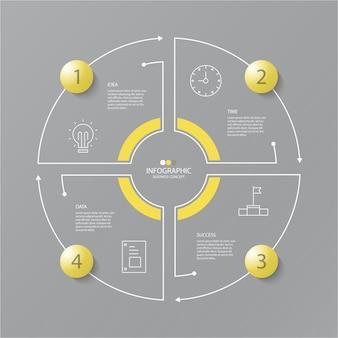 Cores amarelas e cinza para infográfico de círculo com ícones de linha fina. 4 opções ou etapas para infográficos, fluxogramas, apresentações, sites da web, materiais impressos. conceito de negócio de infográficos.