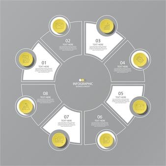 Cores amarelo e cinza para infográfico de círculo com opções
