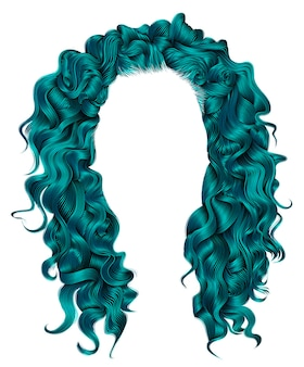 Cores azuis de cabelos longos cacheados. estilo de moda beleza. peruca.