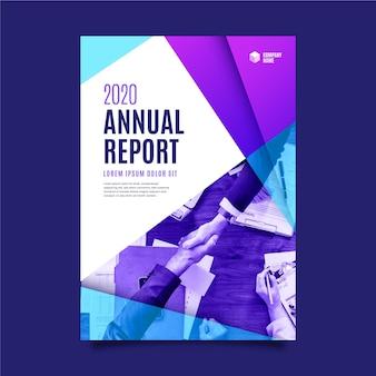 Cores azuis e violetas gradientes abstraem relatório anual