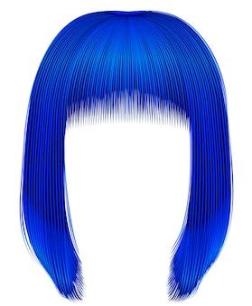 Cores azuis escuras dos cabelos da moda. kare fringe