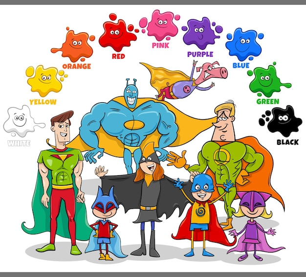 Cores básicas para crianças com grupo de super-heróis