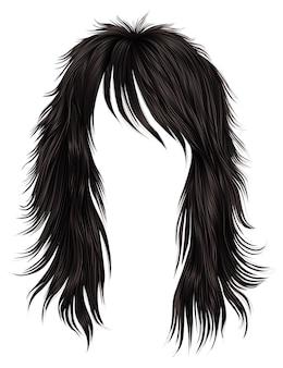 Cores castanhas de cabelos compridos da moda. 3d realista