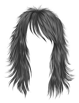 Cores cinza de cabelos compridos de mulher na moda. moda de beleza. 3d realista