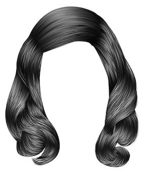 Cores cinza de cabelos compridos de mulher na moda. moda de beleza. realistic.retro