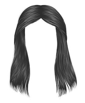 Cores cinzentas de cabelos compridos da moda. 3d realista