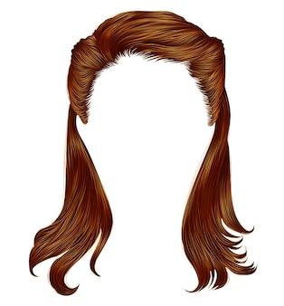 Cores de gengibre vermelho de cabelos compridos de mulher na moda. moda de beleza. realistic.retro