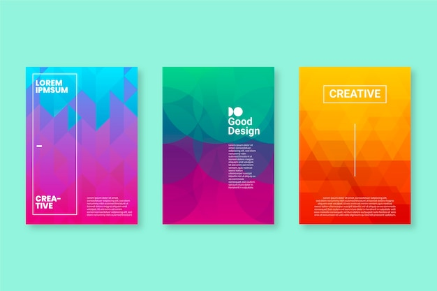 Cores de gradiente pastel abstraem coleção de capa geométrica