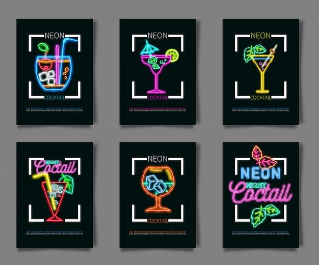 Cores de néon em um fundo preto cocktail party