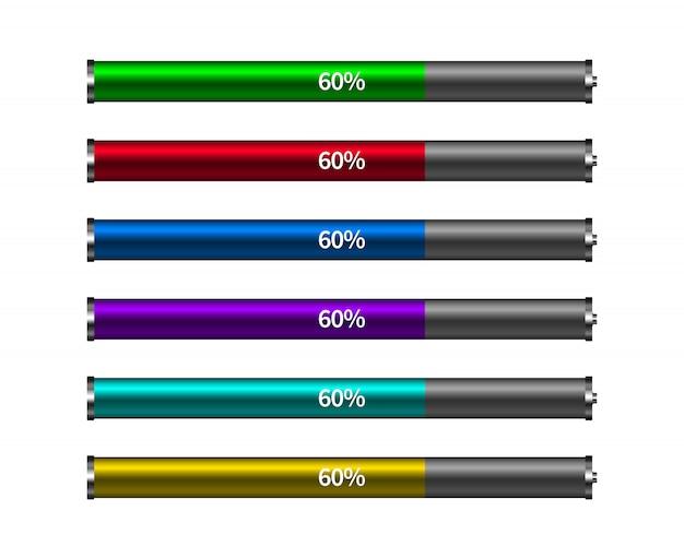 Cores diferentes da barra de progresso do carregamento da bateria. elemento do conceito.