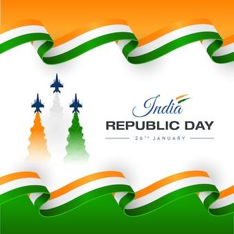 Cores do trio do dia da república do conceito da força aérea da índia