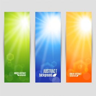 Cores do vetor ajustados banners de brilho