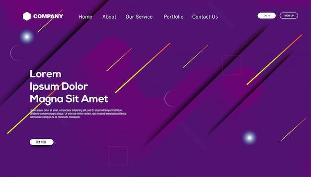 Cores gradientes. modelo de página de destino