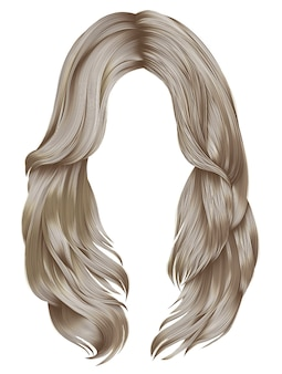 Cores loiras de cabelos compridos de mulher na moda. moda de beleza. cabelo realista