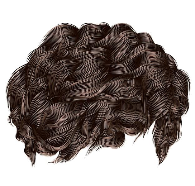 Cores loiras marrons de cabelos cacheados da moda. comprimento médio. 3d realista.