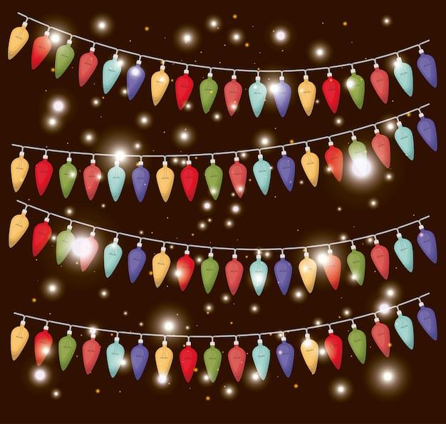 Cores luzes de natal decoração de suspensão