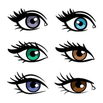 Cores populares olhos femininos