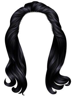 Cores pretas de cabelos compridos de mulher na moda. moda de beleza.