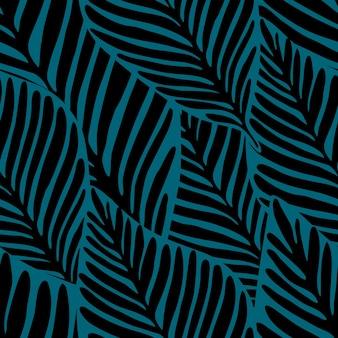 Cores pretas e verdes profundas padrão sem emenda geométrico da selva. planta exótica. padrão tropical, folhas de palmeira de fundo floral vetor sem emenda.