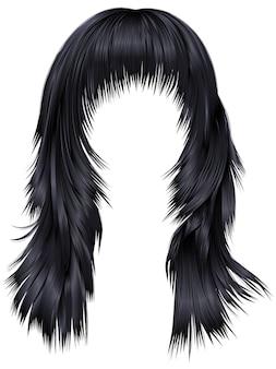 Cores pretas morenas de cabelos compridos de mulher na moda. 3d realista