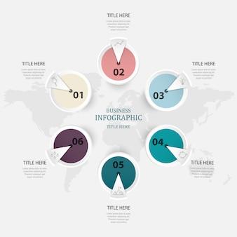 Cores roxas infographic, opção do círculo 6 ou etapas para o conceito do negócio.