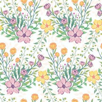 Cores tropicais sem costura pastel flor padrão ilustração