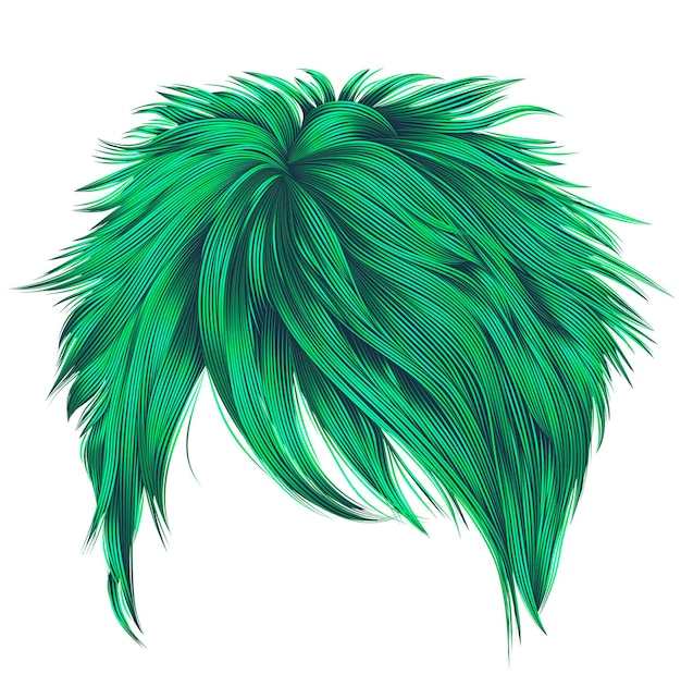 Cores verdes de cabelos curtos de mulher na moda. franja. moda. 3d realista.
