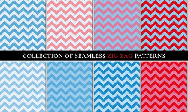 Cores vermelhas azuis conjunto de padrão de fundo em zigue-zague sem costura chevron natal inverno design
