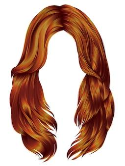 Cores vermelhas de cabelos compridos de mulher na moda.