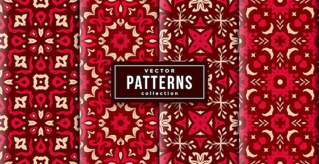 Cores vermelhas e douradas do estilo do batik padrão conjunto de quatro. conjunto de fundo transparente